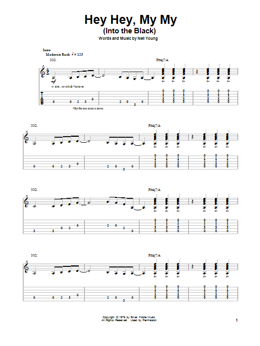 Tablature guitare Hey Hey, My My (Into The Black) de Neil Young - Tablature Guitare