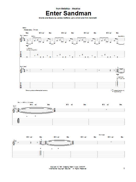 Tablature guitare Enter Sandman de Metallica - Tablature Guitare