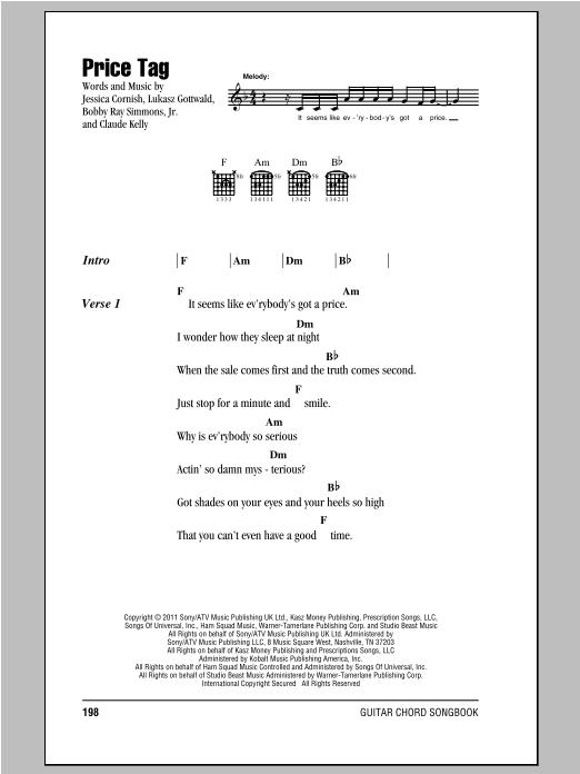 Price Tag sheet music by Jessie J (Lyrics u0026 Chords u2013 93684)