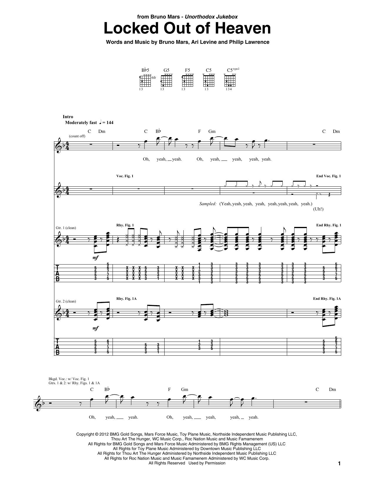 Tablature guitare Locked Out Of Heaven de Bruno Mars - Tablature Guitare