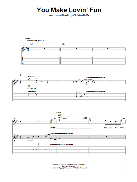 Tablature guitare You Make Lovin' Fun de Fleetwood Mac - Tablature Guitare