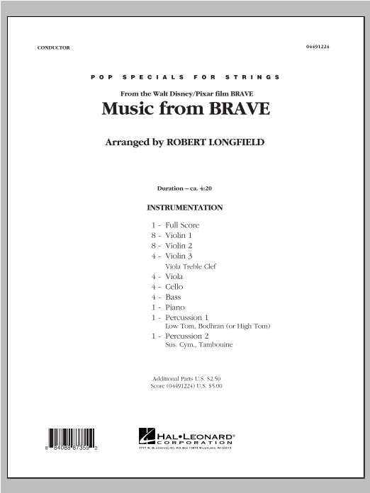 Music From Brave (COMPLETE) sheet music for orchestra by Robert Longfield