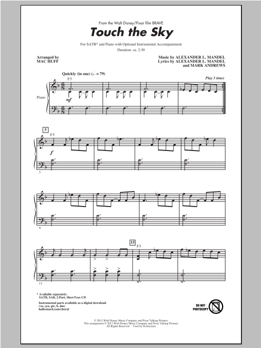 Touch The Sky sheet music for choir and piano (SATB) by Alexander L. Mandel