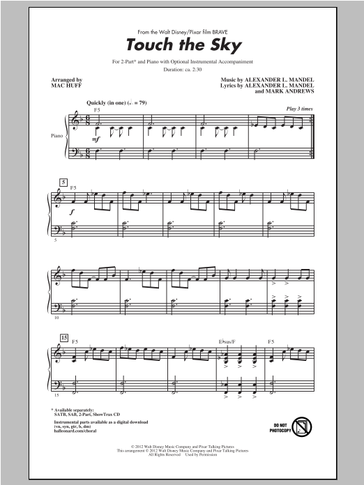 Touch The Sky sheet music for choir and piano (duets) by Alexander L. Mandel