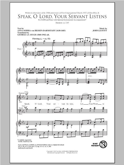 Partition chorale Speak, O Lord, Your Servant Listens de John Leavitt - SATB