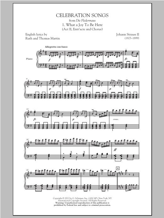 Partition autre What A Joy To Be Here de Johann Strauss II - SATB