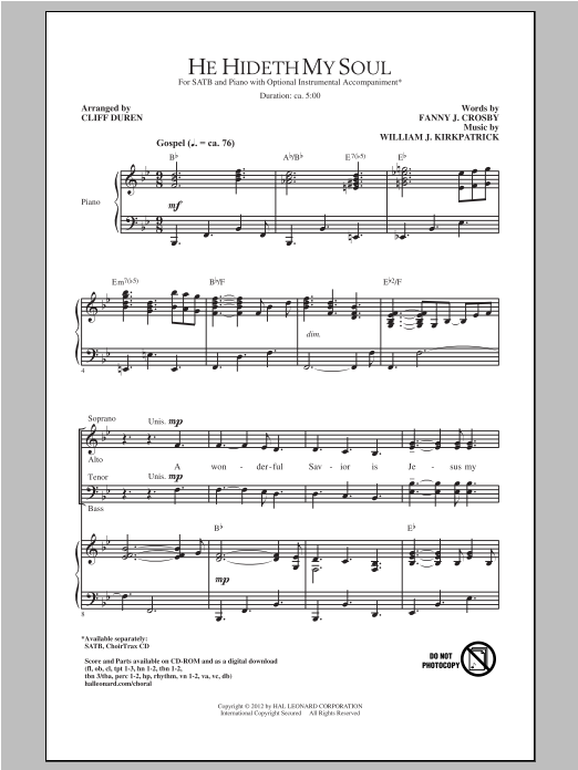 Partition chorale He Hideth My Soul de Cliff Duren - SATB
