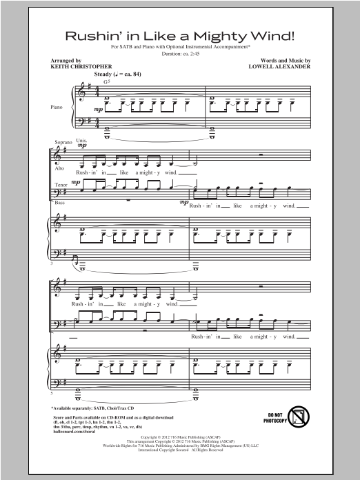 Partition chorale Rushin' In Like A Mighty Wind! de Keith Christopher - SATB