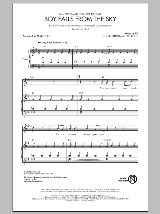 Boy Falls From The Sky sheet music for choir and piano (SATB) by Bono