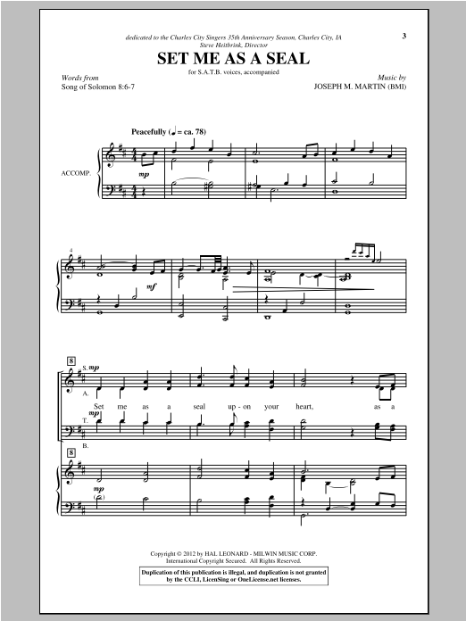 Partition chorale Set Me As A Seal de Joseph Martin - SATB