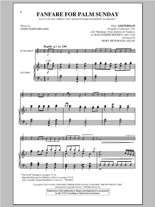 Partition chorale Fanfare For Palm Sunday de Mary McDonald - SATB