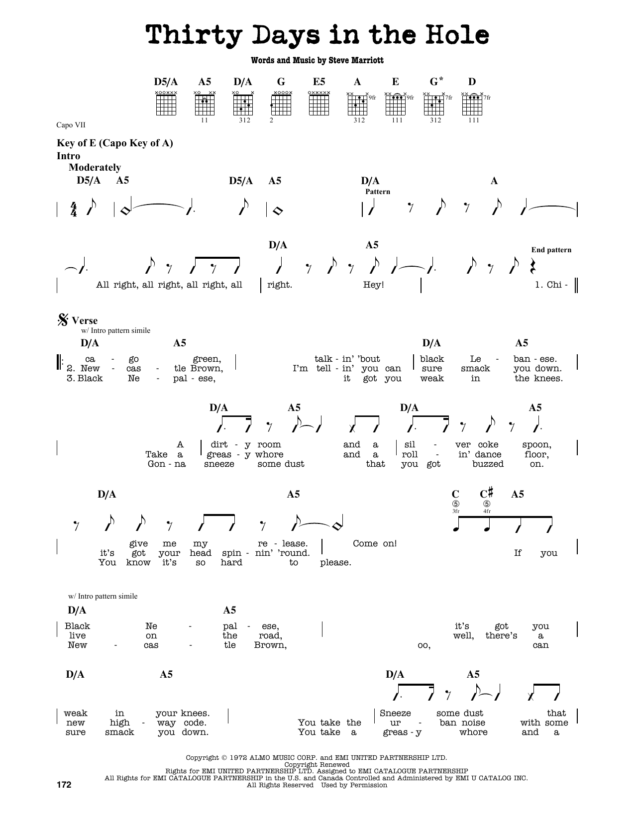Partition autre Thirty Days In The Hole de Humble Pie - Tablature Guitare Lead