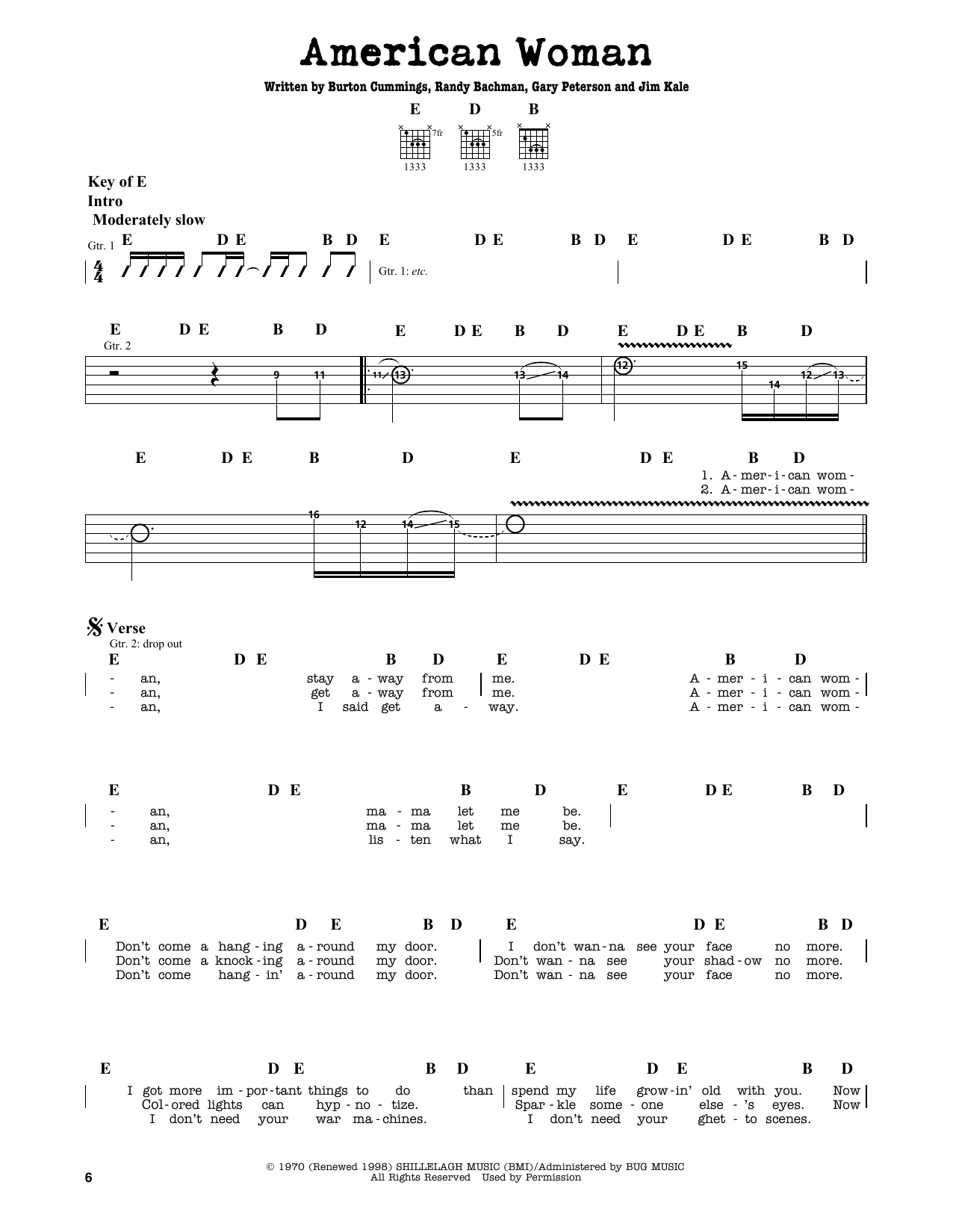 Partition autre American Woman de The Guess Who - Tablature Guitare Lead