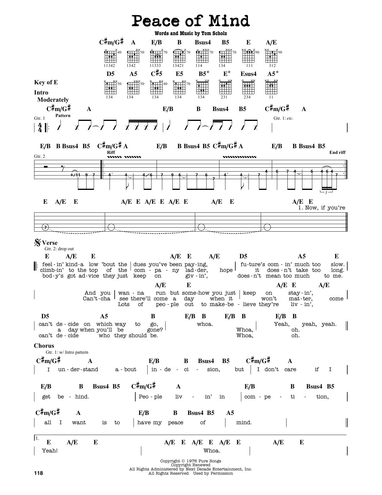 Partition autre Peace Of Mind de Boston - Tablature Guitare Lead
