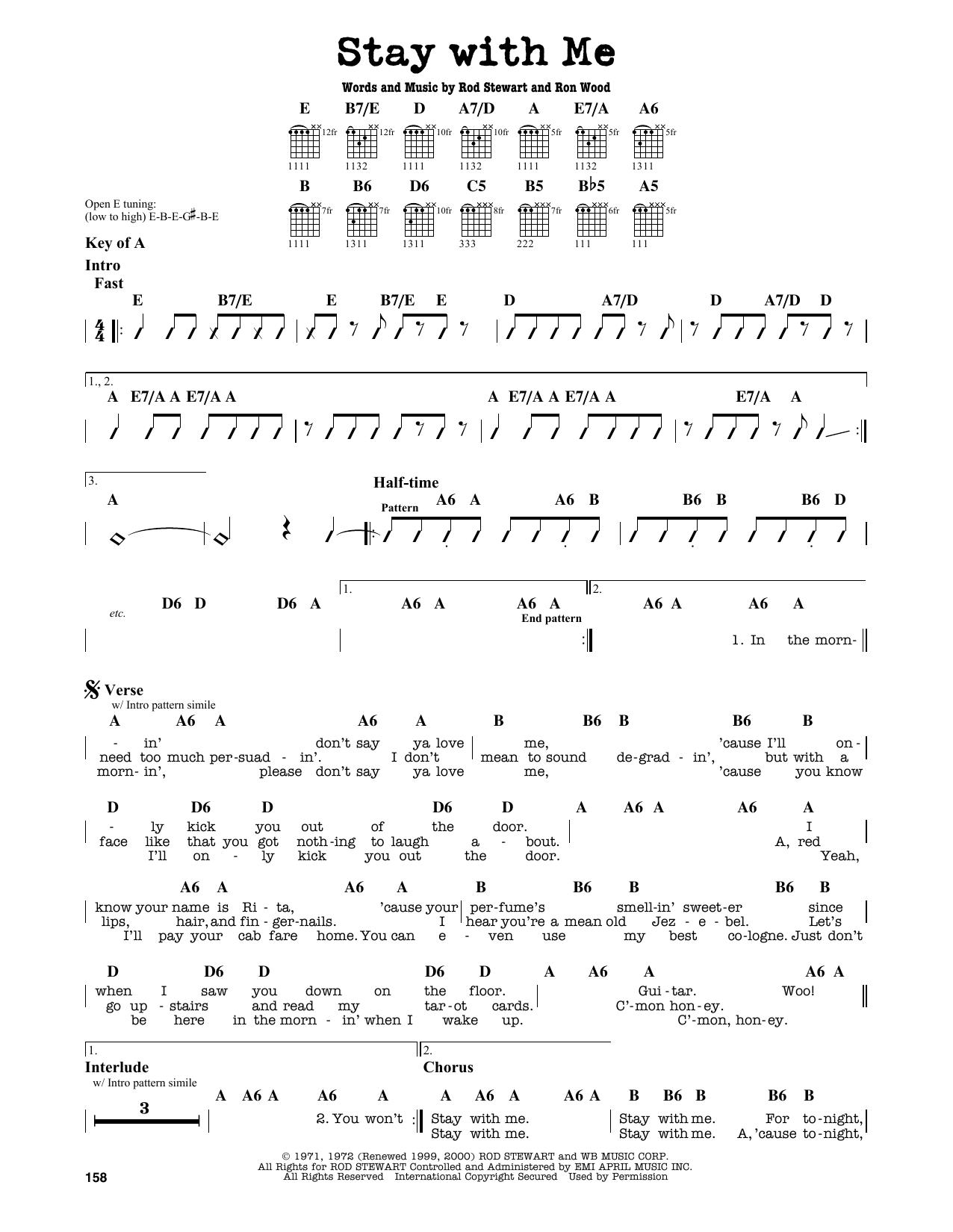 Partition autre Stay With Me de Rod Stewart - Tablature Guitare Lead