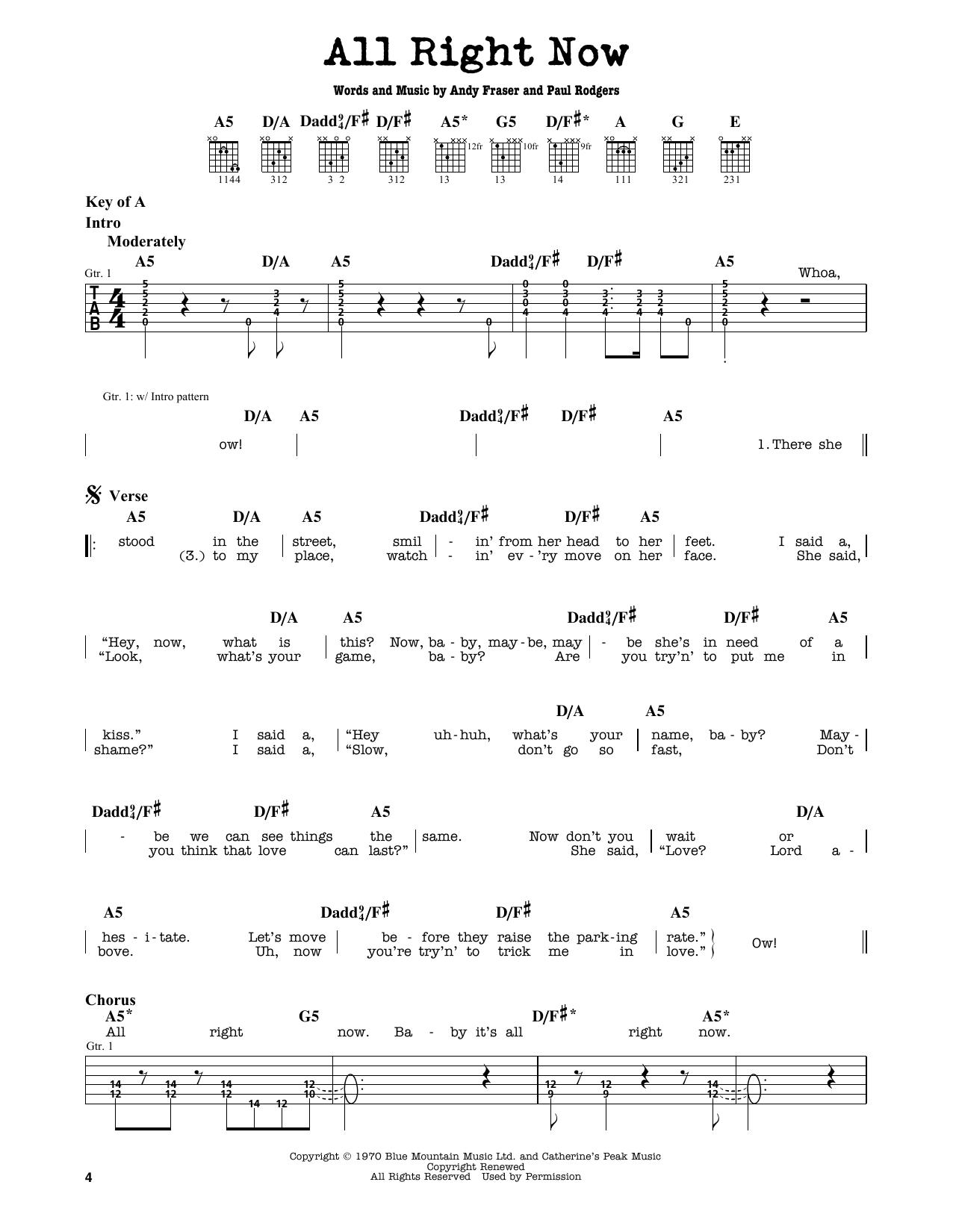 Partition autre All Right Now de Free - Tablature Guitare Lead