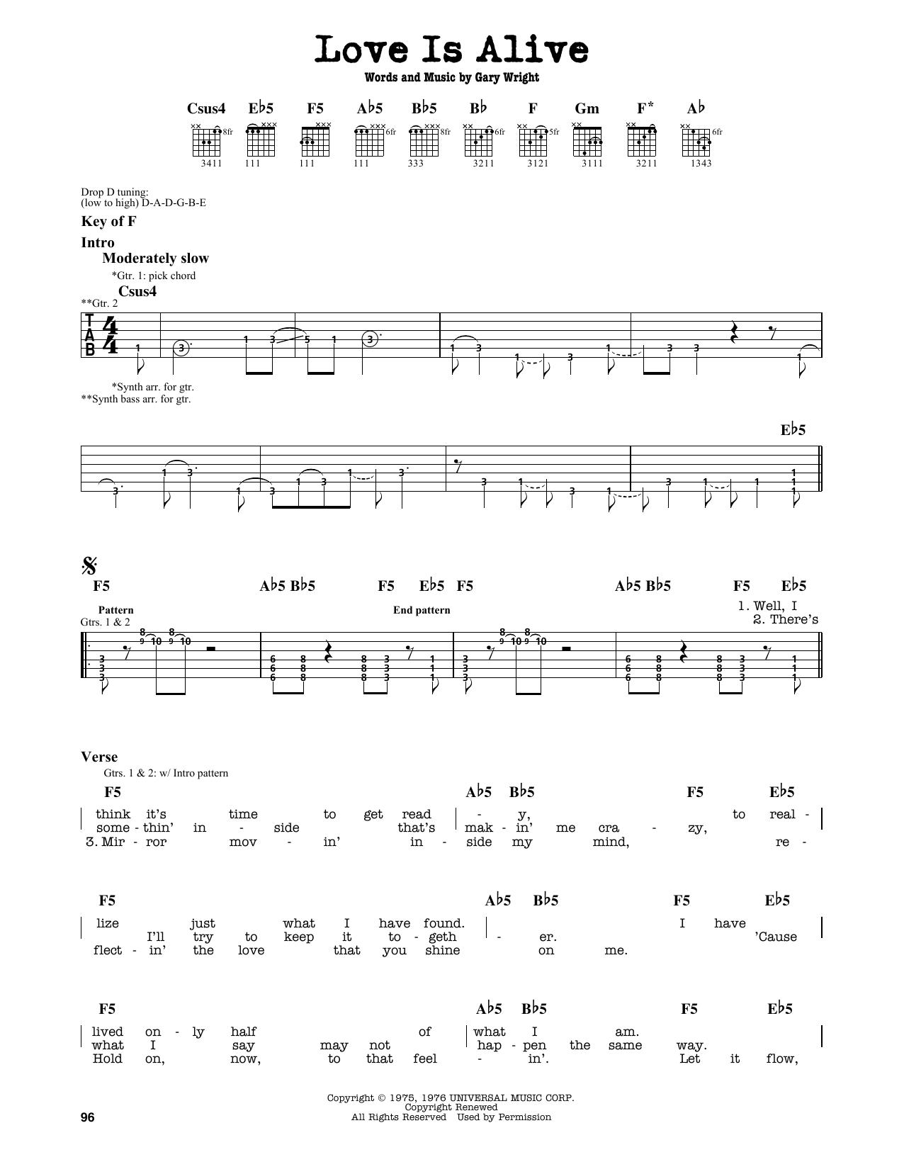 Partition autre Love Is Alive de 3rd Party - Tablature Guitare Lead