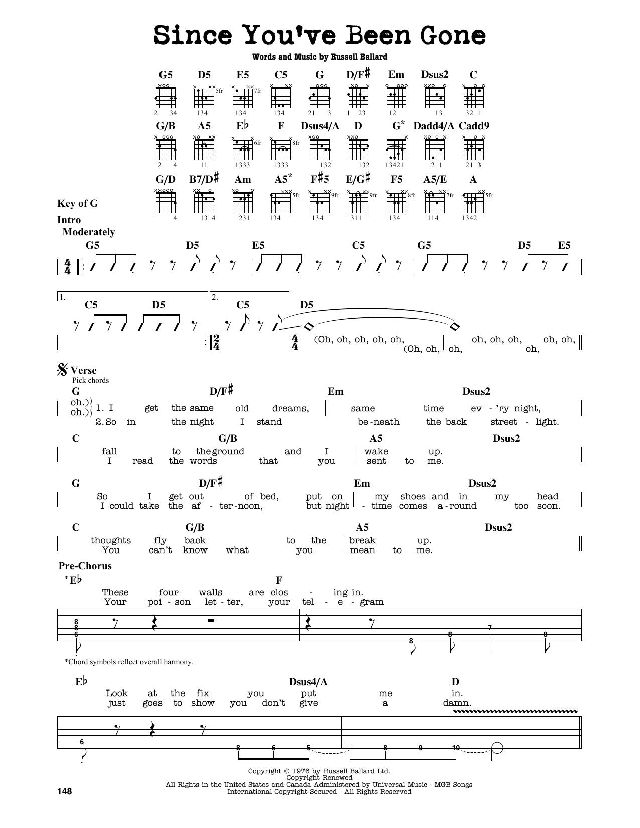 Partition autre Since You've Been Gone de Deep Purple - Tablature Guitare Lead