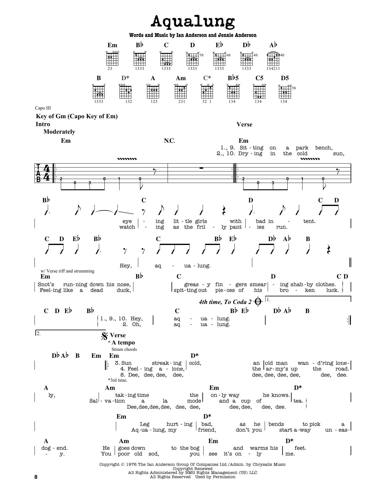 Partition autre Aqualung de Jethro Tull - Tablature Guitare Lead