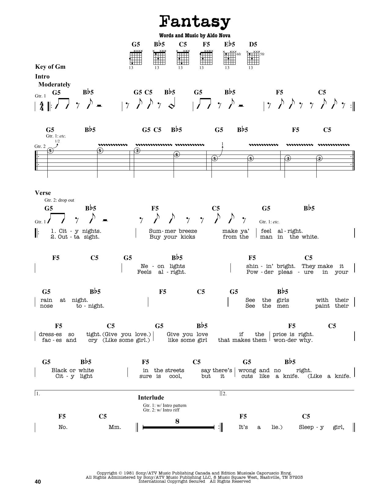 Partition autre Fantasy de Aldo Nova - Tablature Guitare Lead