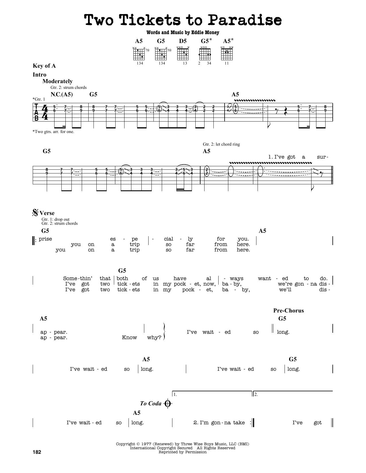 Partition autre Two Tickets To Paradise de Eddie Money - Tablature Guitare Lead