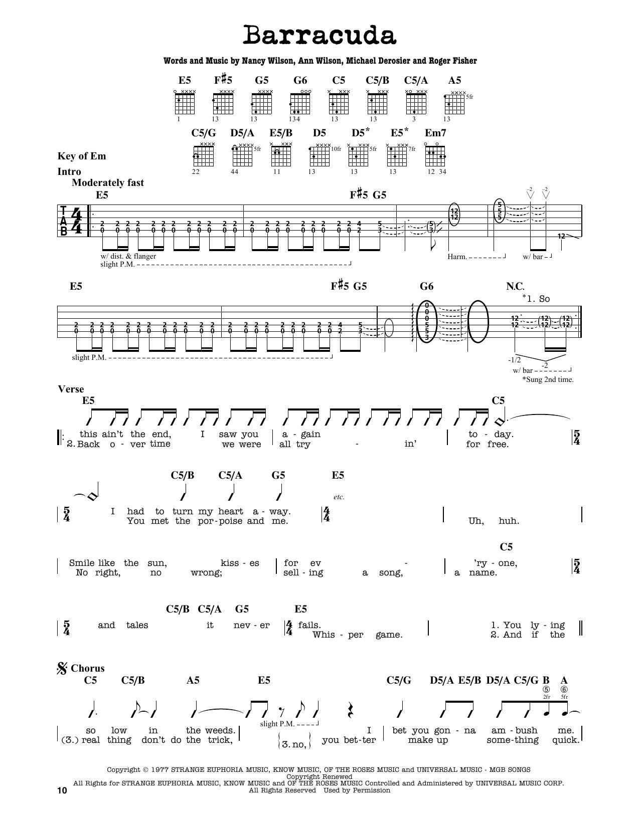 Partition autre Barracuda de Heart - Tablature Guitare Lead