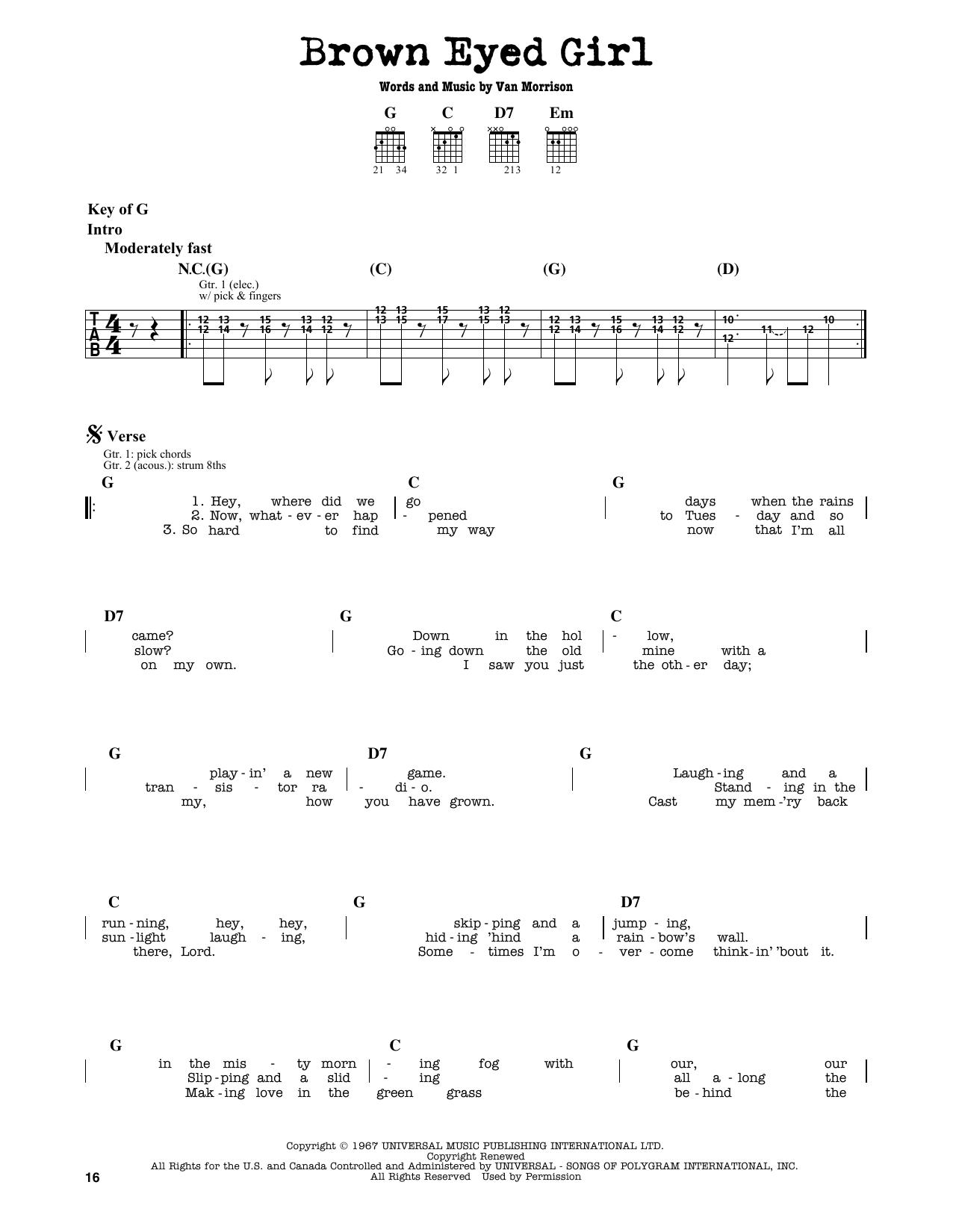 Partition autre Brown Eyed Girl de Van Morrison - Tablature Guitare Lead
