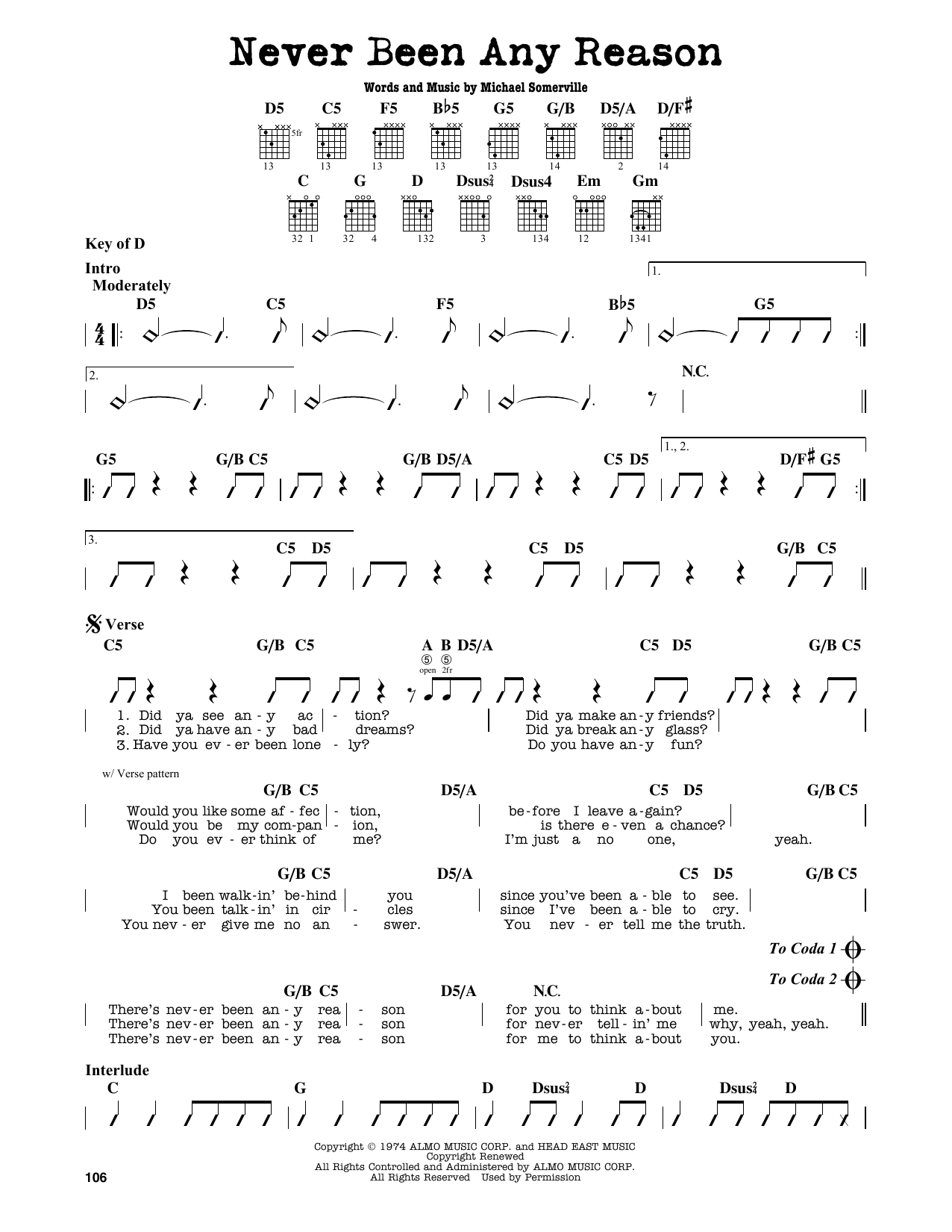 Partition autre Never Been Any Reason de Head East - Tablature Guitare Lead