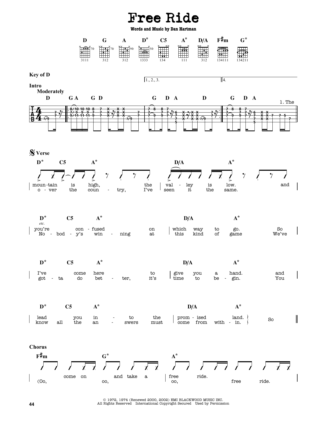 Partition autre Free Ride de The Edgar Winter Group - Tablature Guitare Lead