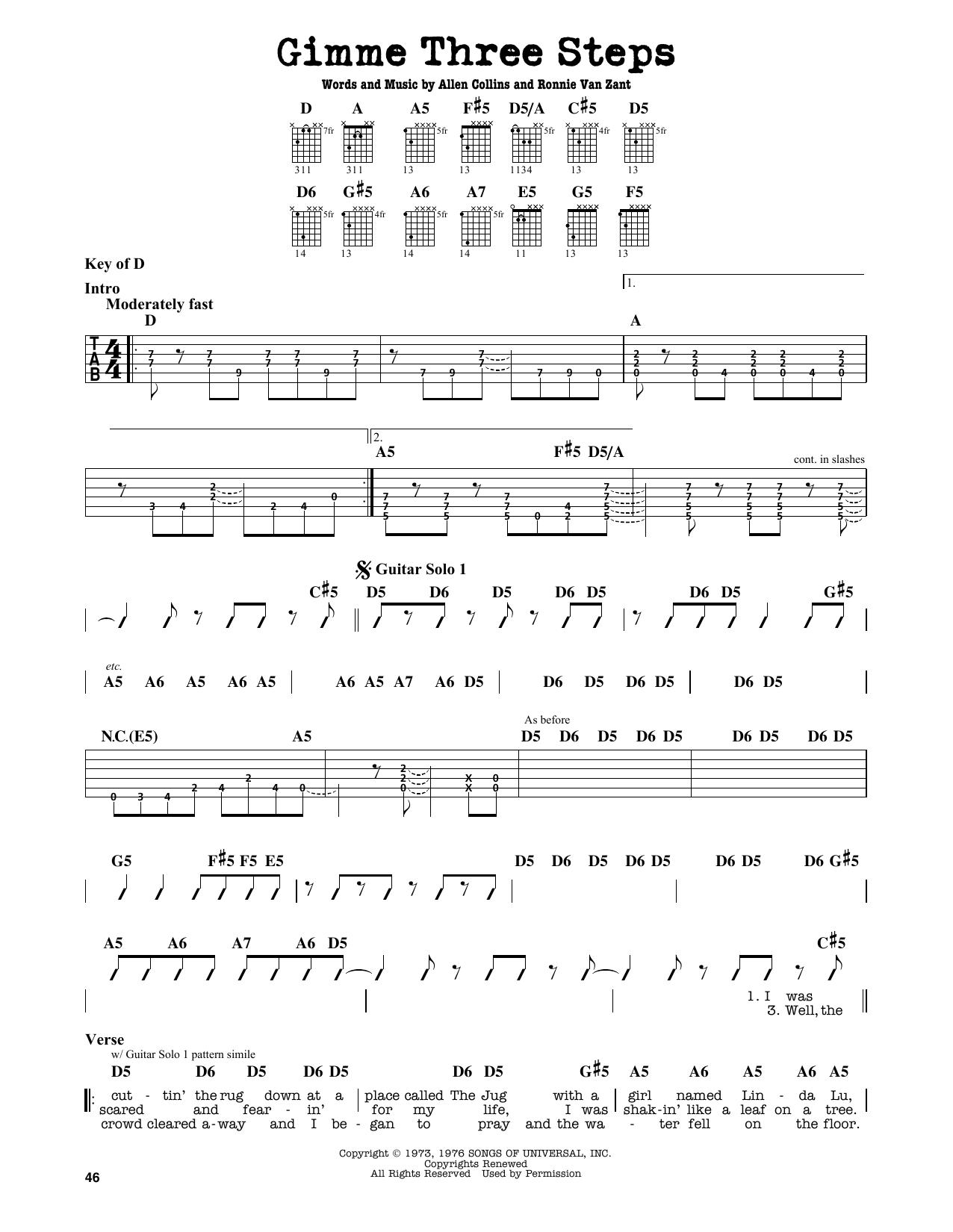 Partition autre Gimme Three Steps de Lynyrd Skynyrd - Tablature Guitare Lead