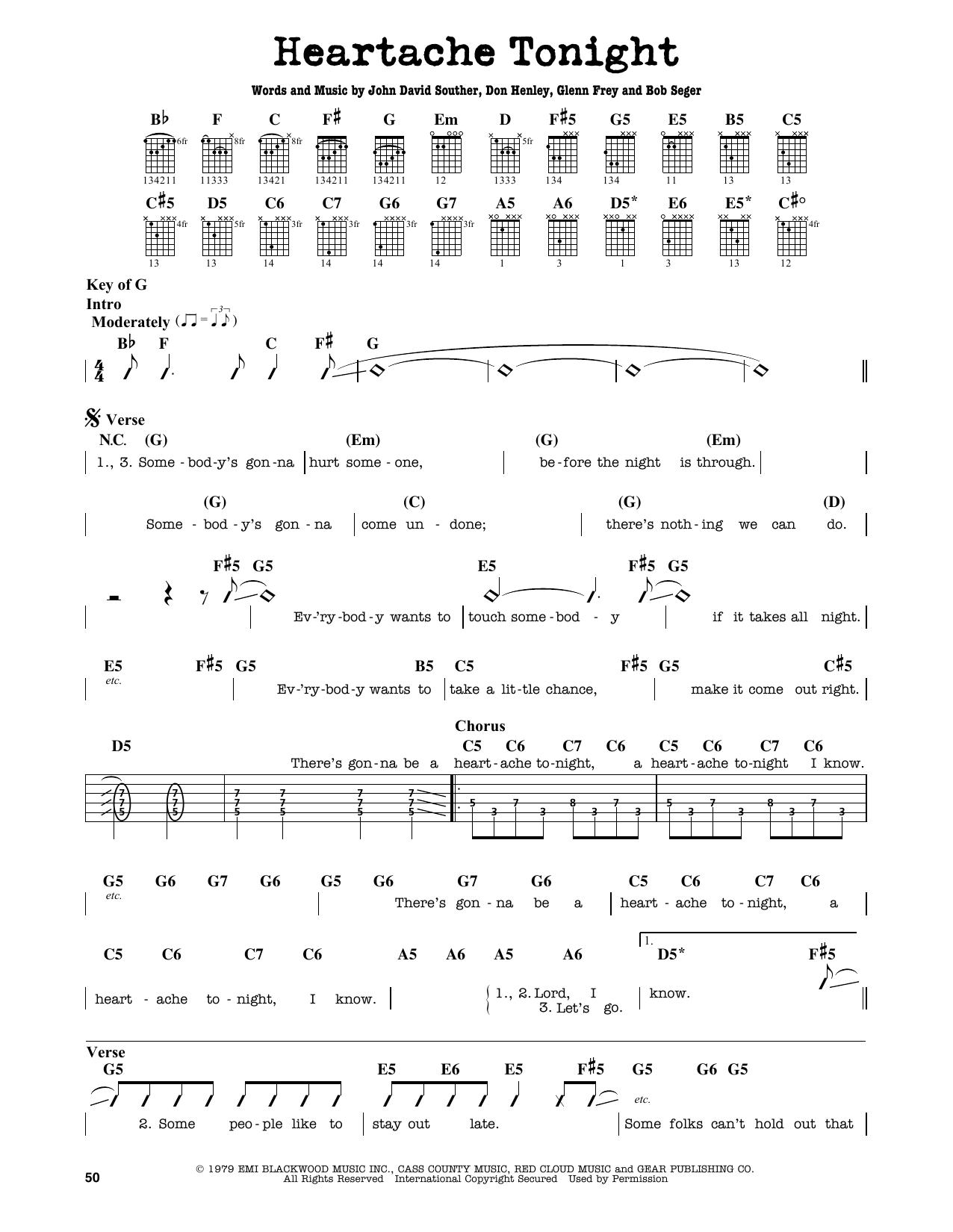 Partition autre Heartache Tonight de Eagles - Tablature Guitare Lead