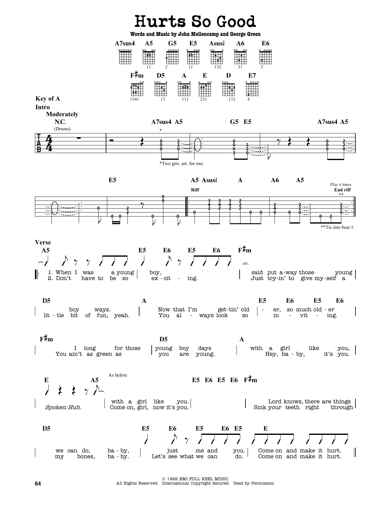 Partition autre Hurts So Good de John Mellencamp - Tablature Guitare Lead