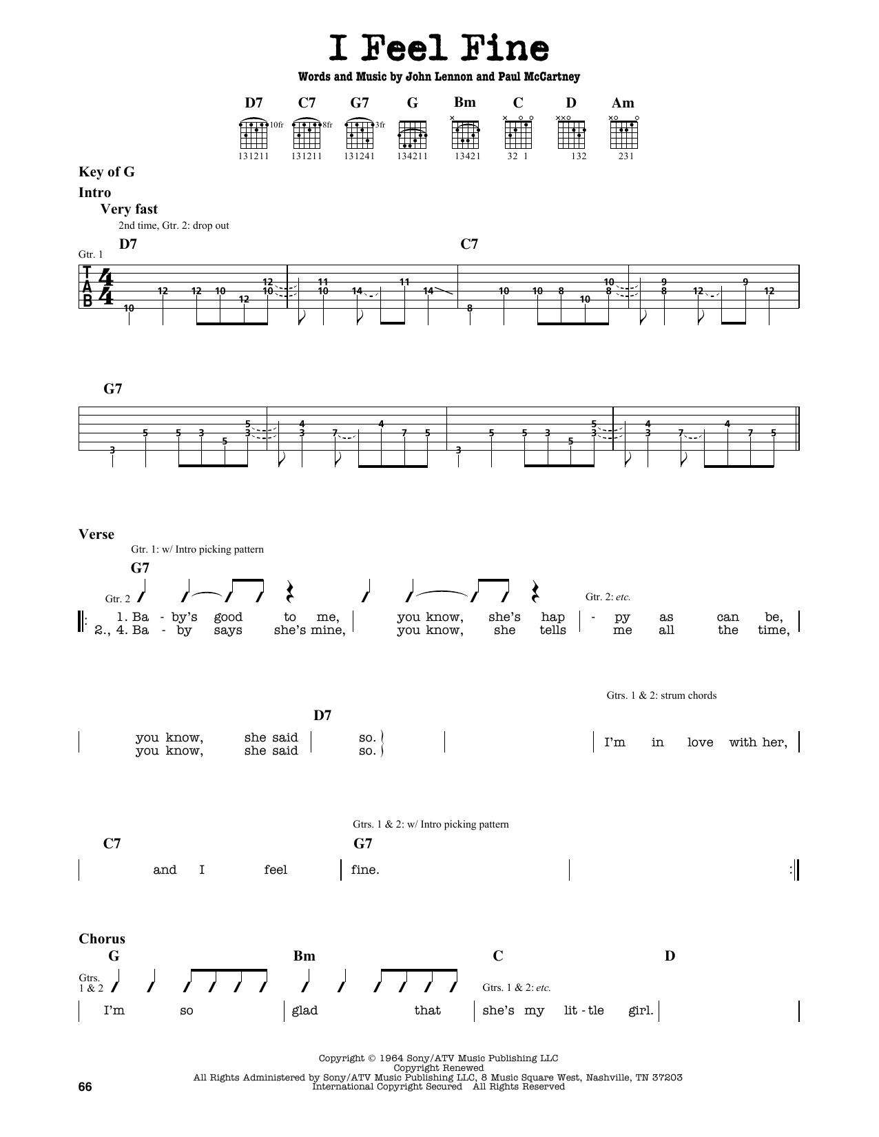 Partition autre I Feel Fine de The Beatles - Tablature Guitare Lead