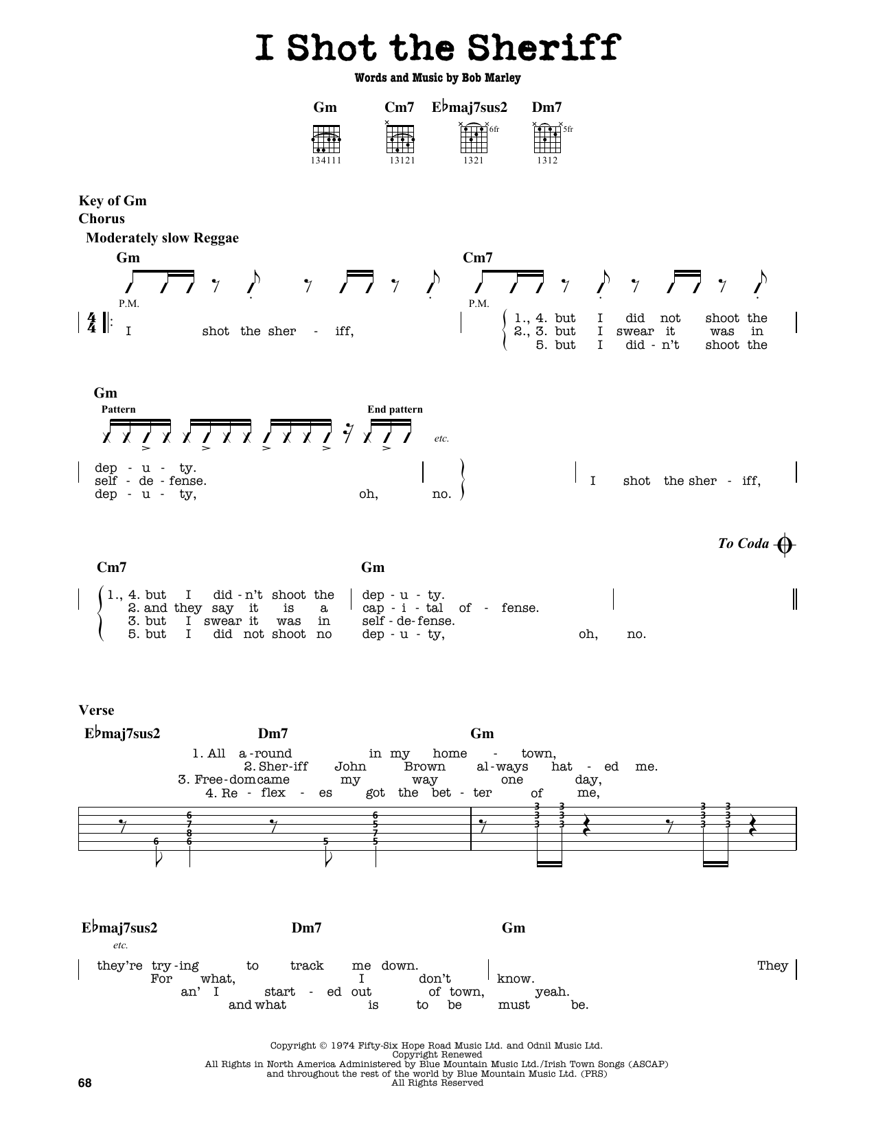 Partition autre I Shot The Sheriff de Bob Marley - Tablature Guitare Lead