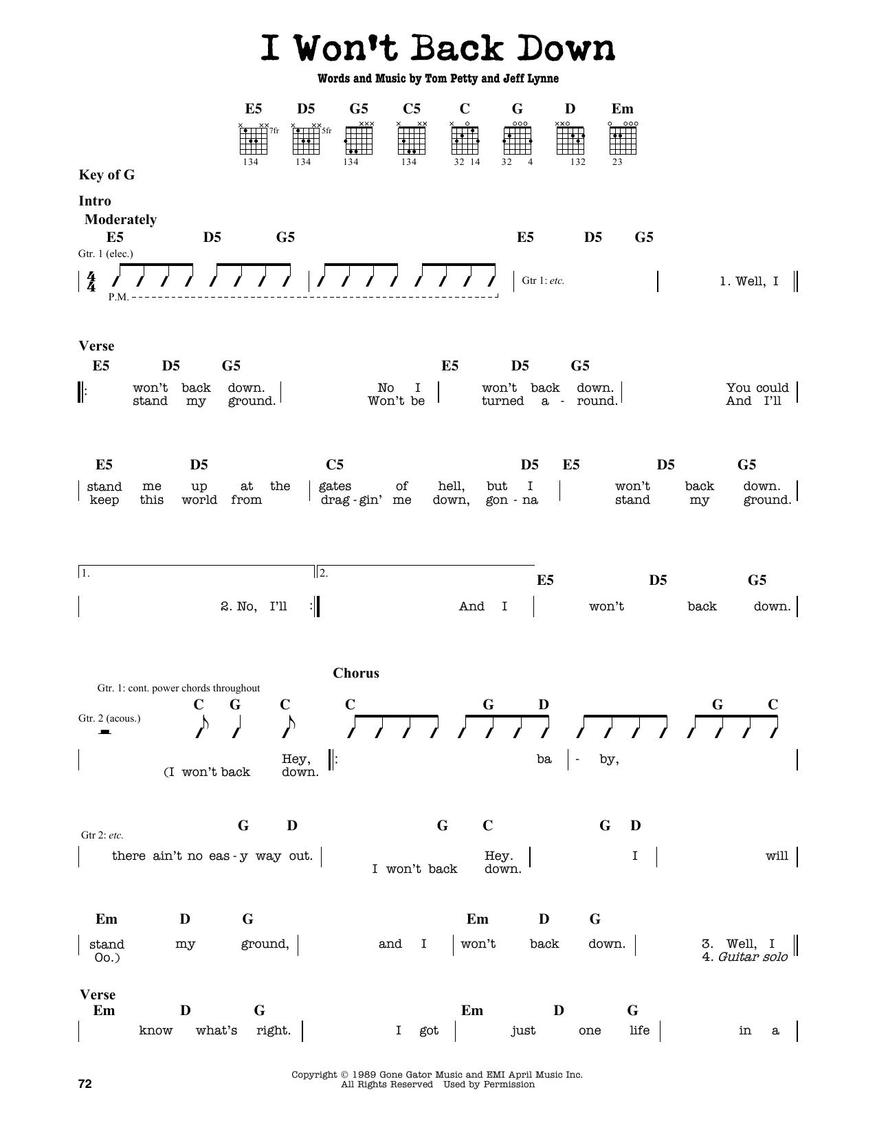 Partition autre I Won't Back Down de Tom Petty - Tablature Guitare Lead