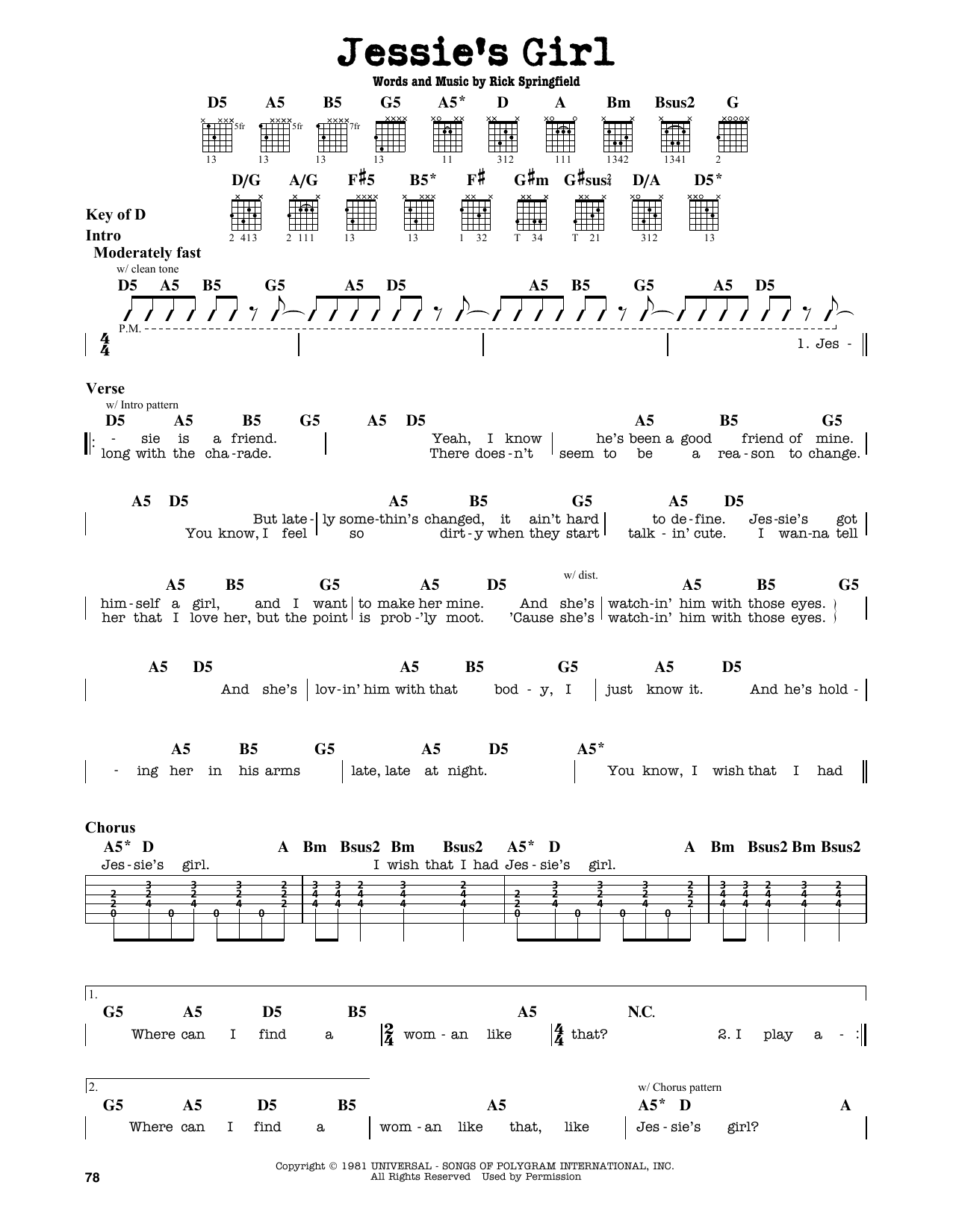 Partition autre Jessie's Girl de Rick Springfield - Tablature Guitare Lead