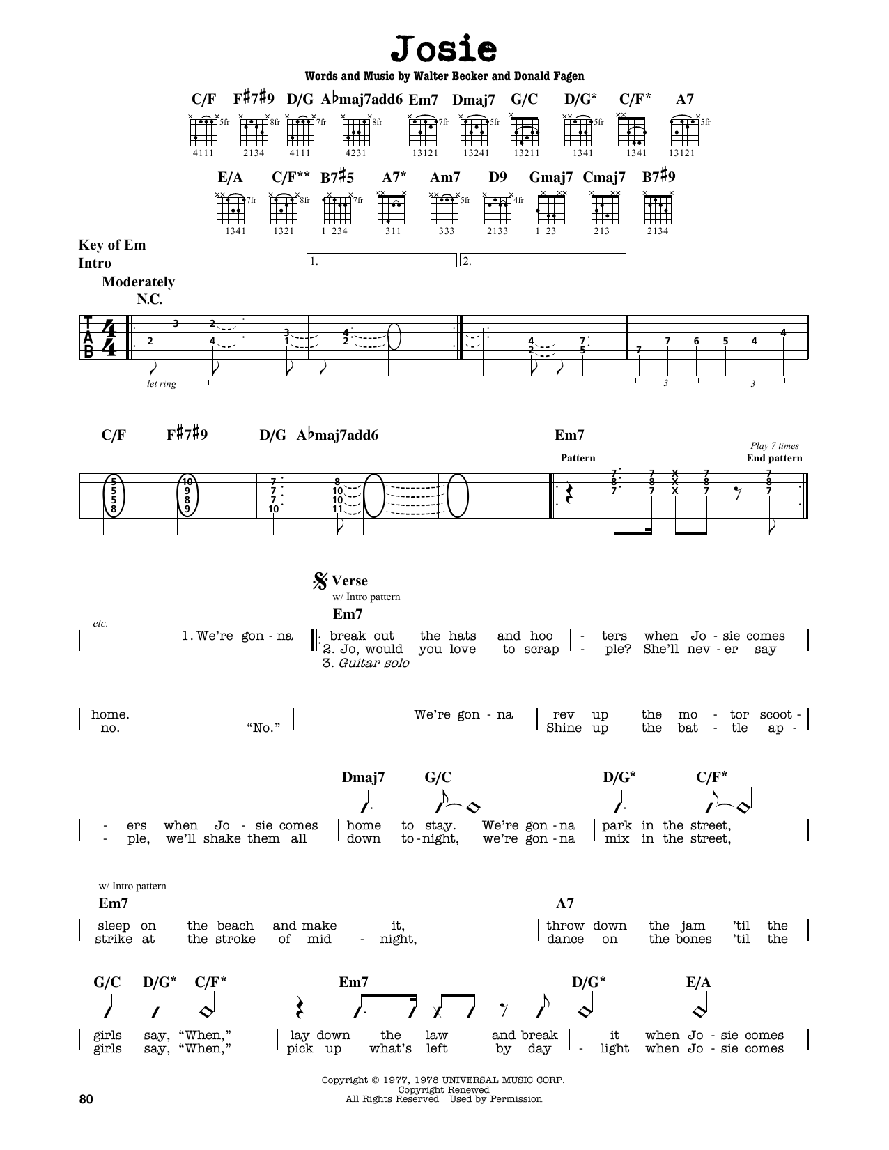 Partition autre Josie de Steely Dan - Tablature Guitare Lead