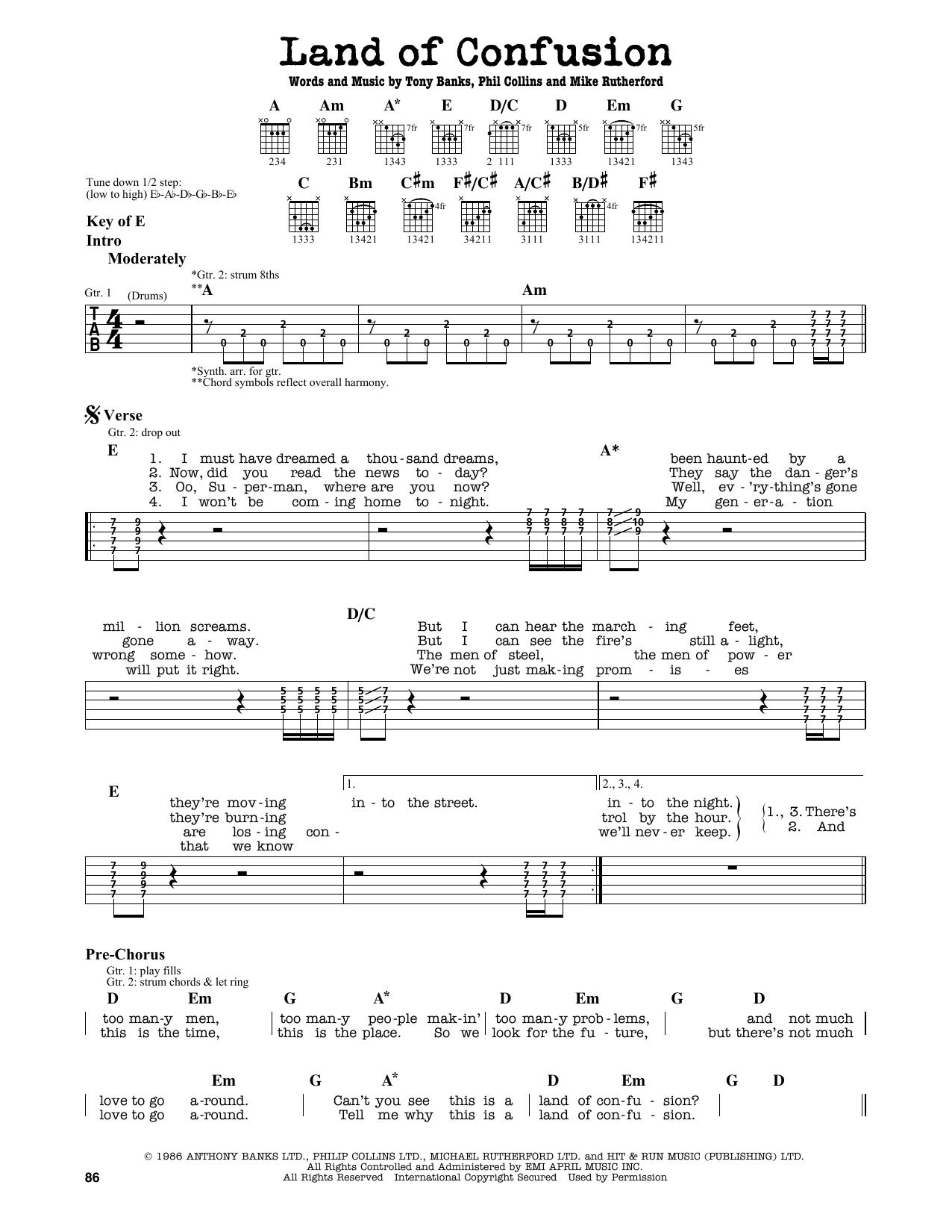 Partition autre Land Of Confusion de Genesis - Tablature Guitare Lead
