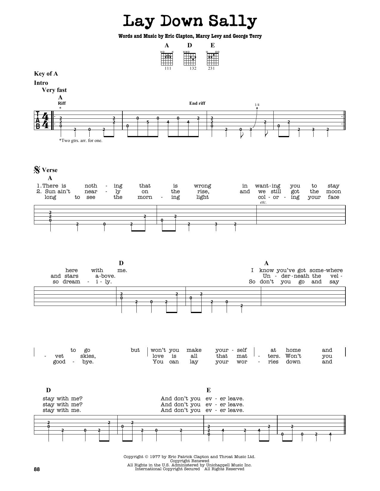 Partition autre Lay Down Sally de Eric Clapton - Tablature Guitare Lead