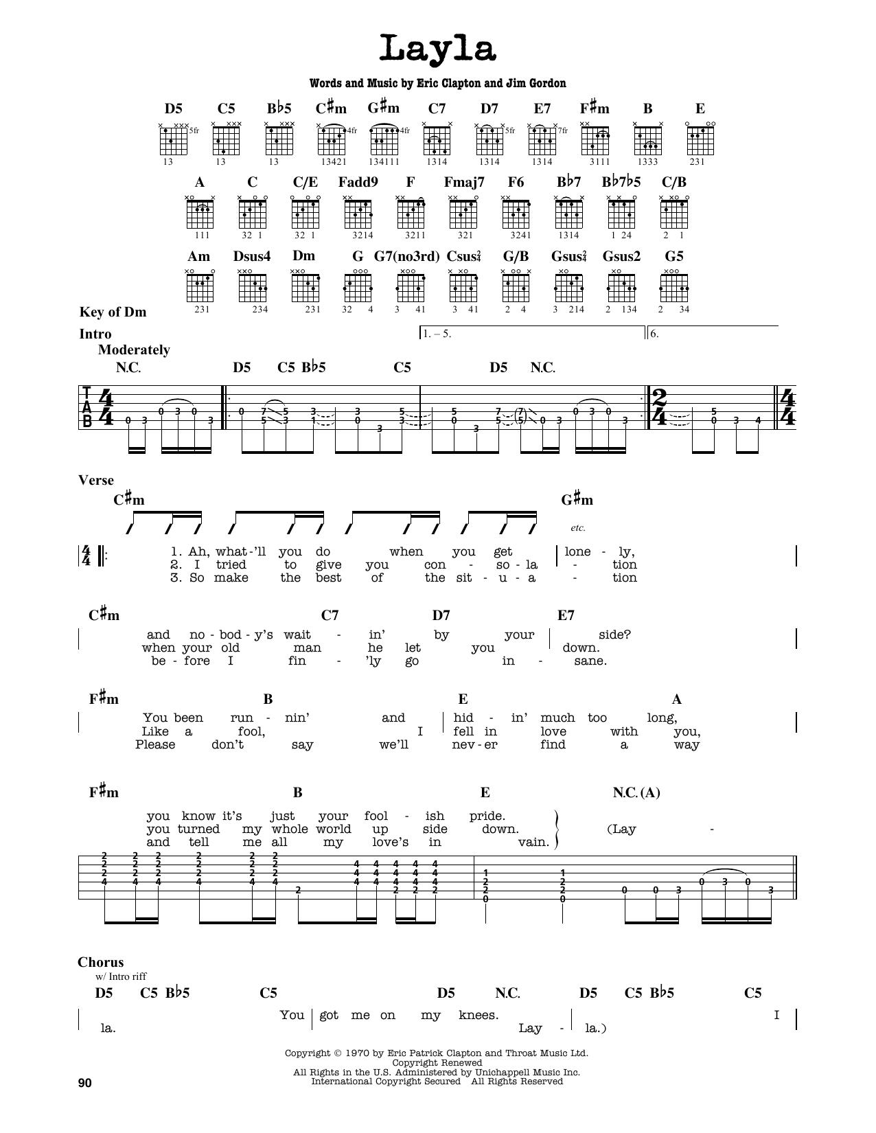 Partition autre Layla de Eric Clapton - Tablature Guitare Lead