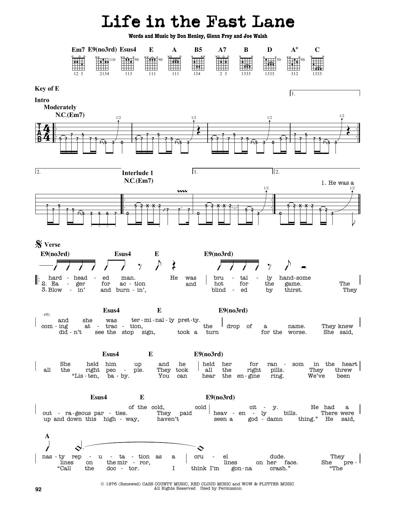 Partition autre Life In The Fast Lane de Eagles - Tablature Guitare Lead