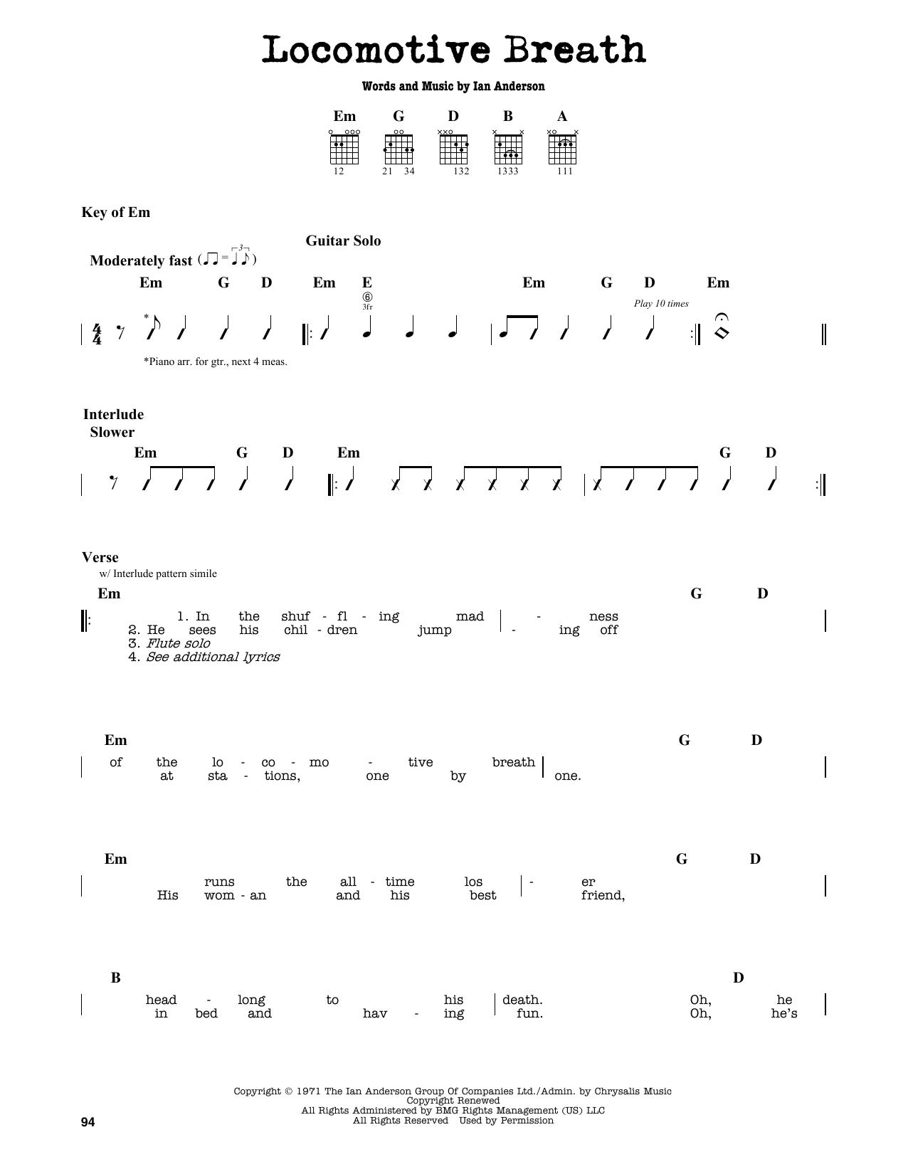 Partition autre Locomotive Breath de Jethro Tull - Tablature Guitare Lead