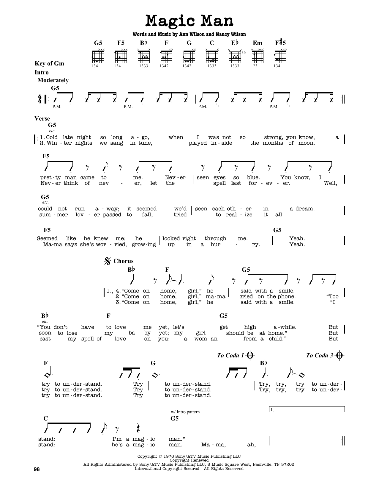 Partition autre Magic Man de Heart - Tablature Guitare Lead