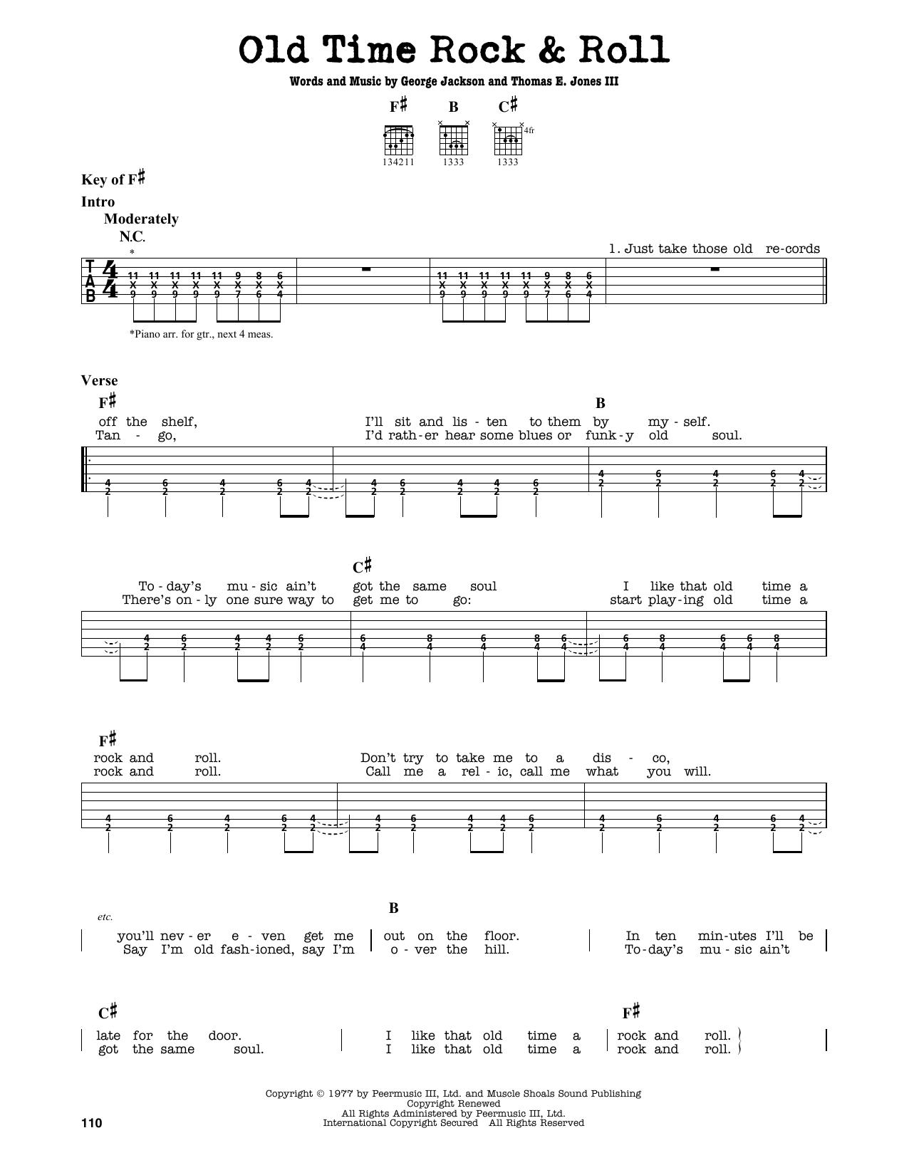 Partition autre Old Time Rock & Roll de Bob Seger - Tablature Guitare Lead