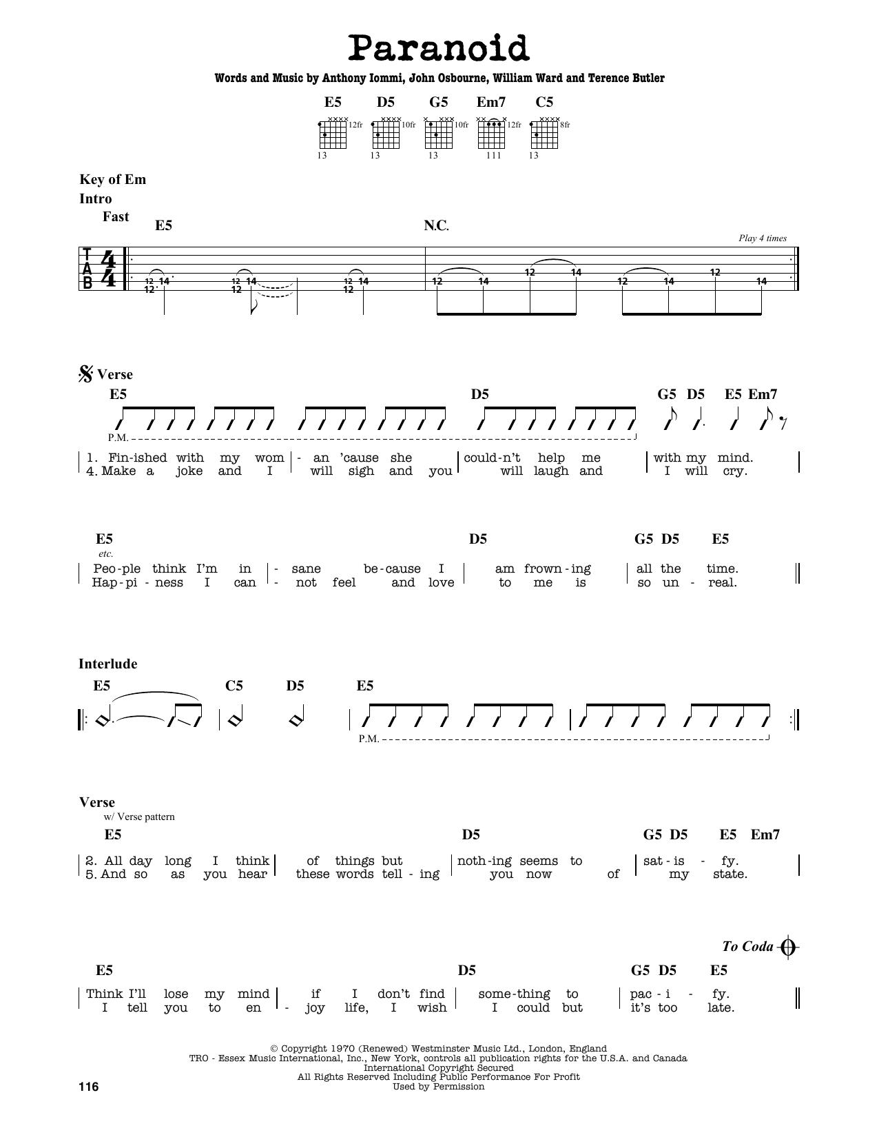 Partition autre Paranoid de Black Sabbath - Tablature Guitare Lead