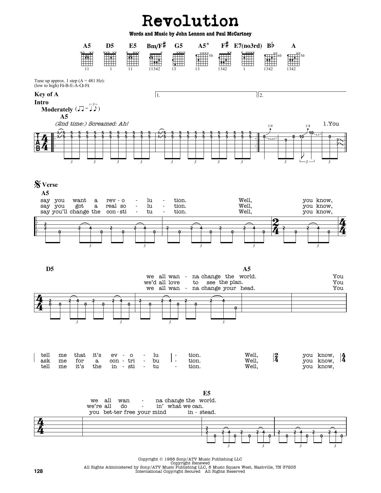 Partition autre Revolution de The Beatles - Tablature Guitare Lead