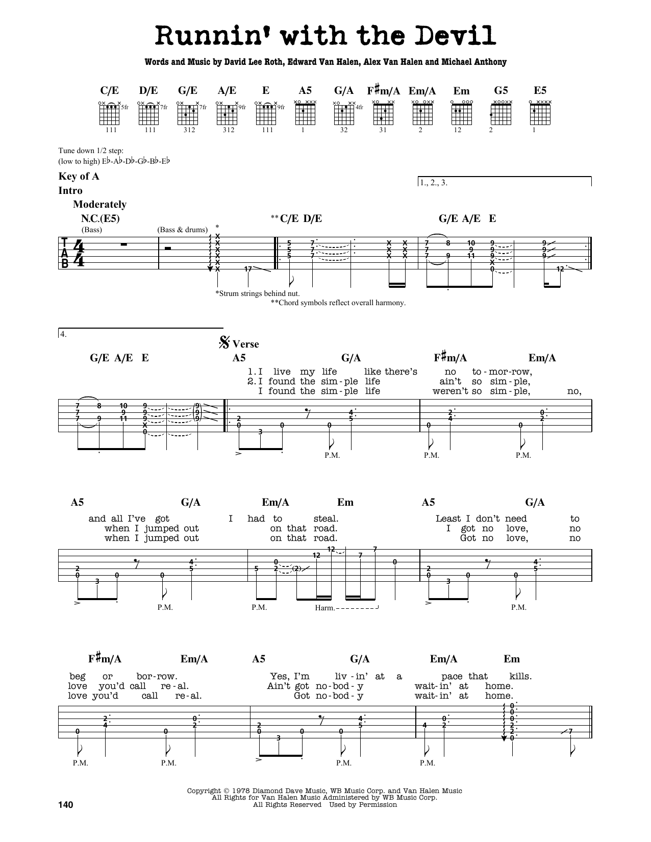 Partition autre Runnin' With The Devil de Van Halen - Tablature Guitare Lead
