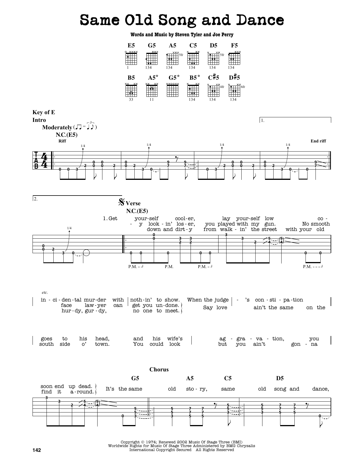 Partition autre Same Old Song And Dance de Aerosmith - Tablature Guitare Lead