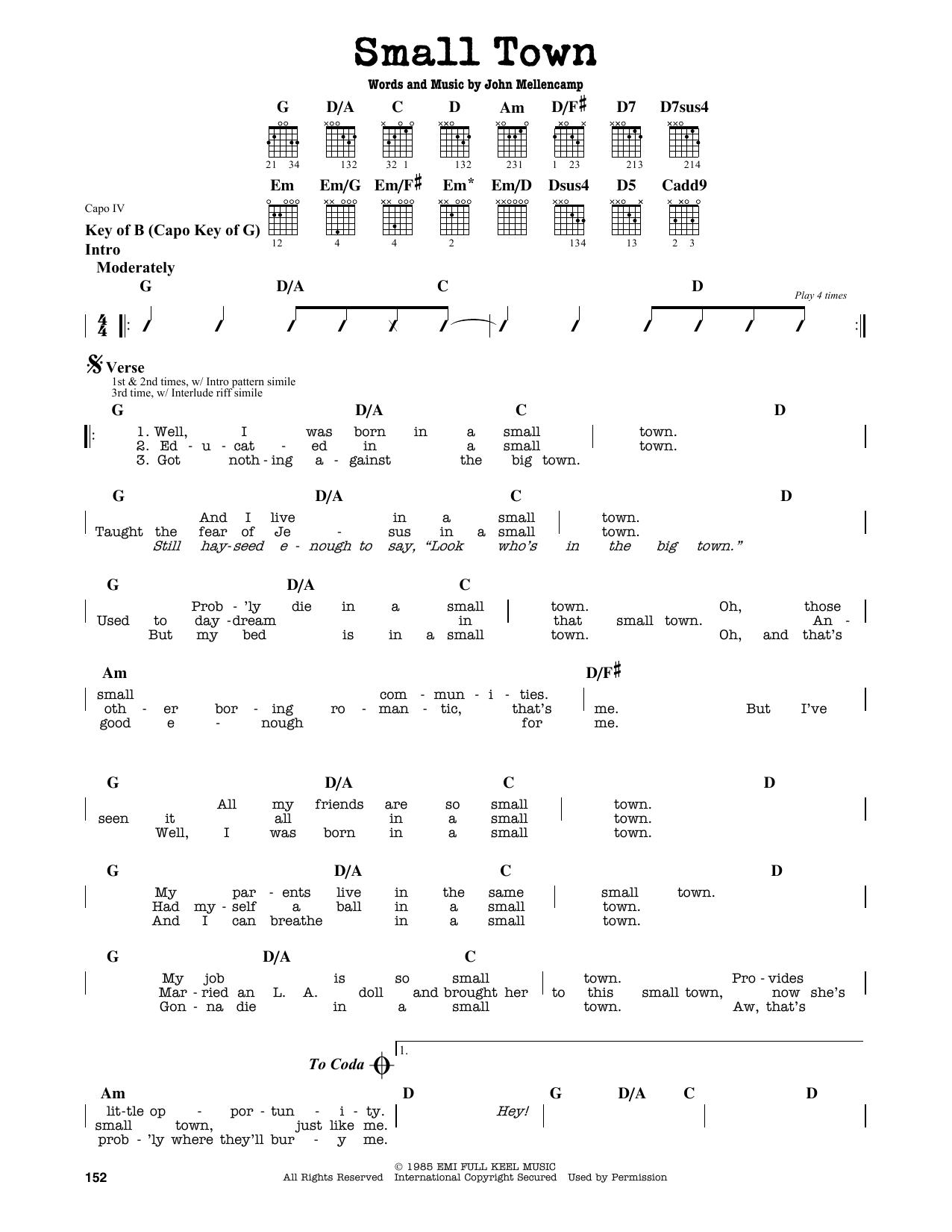 Partition autre Small Town de John Mellencamp - Tablature Guitare Lead