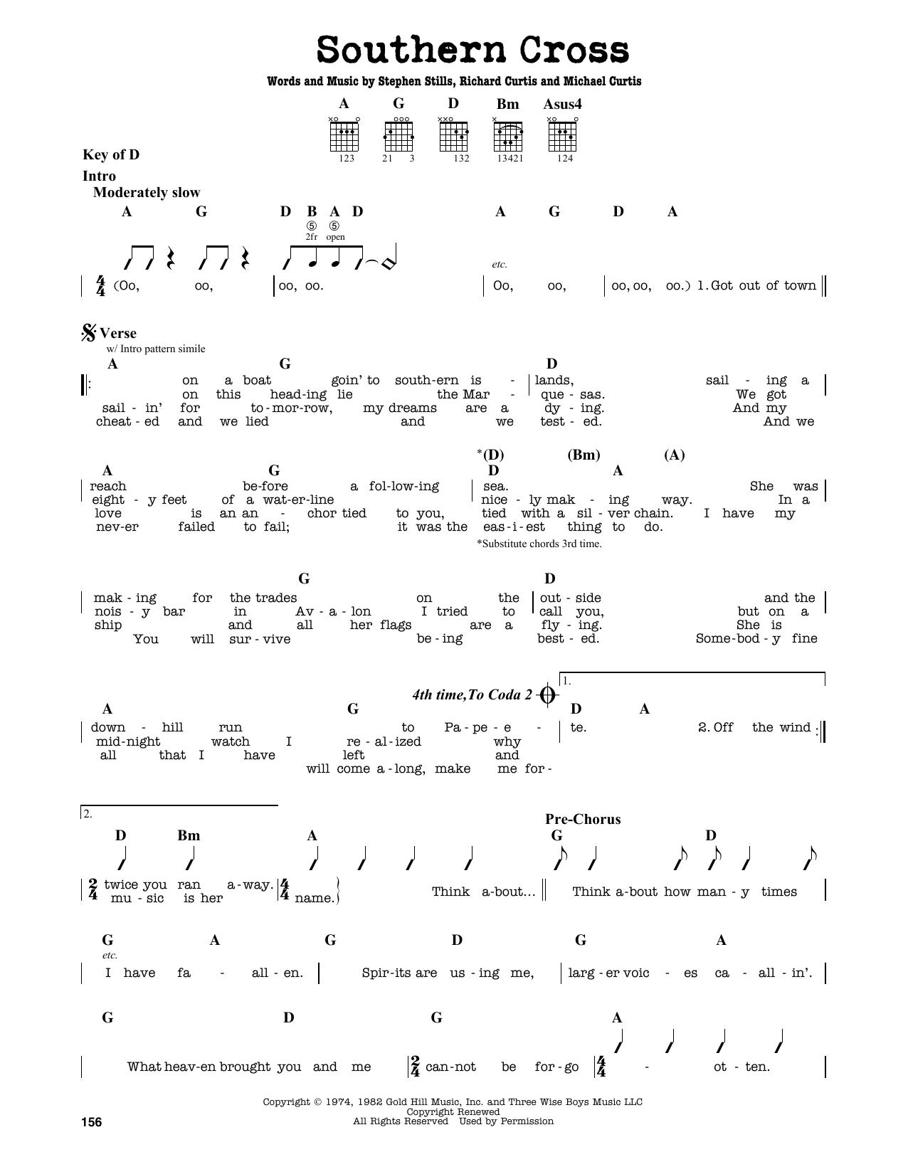 Partition autre Southern Cross de Crosby, Stills & Nash - Tablature Guitare Lead